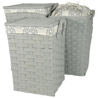 Laundry Hampers/Clothing Storage Bins with Handles and Lid (Set of 3)  (Grey)