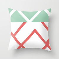 Pink & Green Lines Throw Pillow by PoseManikin
