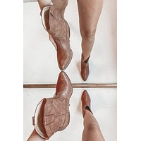 Walk My Way Brown Faux Leather Booties