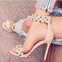 Rivets Back Zipper Fashion Women Peep Toe High Heels Shoes