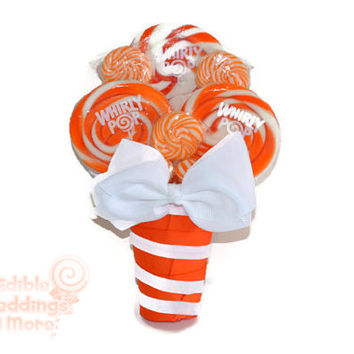 Orange Lollipop Bouquet, Lollipop Bouquet, Candy Bouquet. Wedding, Bouquet, Candy, Lollipop, Maid of Honor, Bridesmaid, Bridal Party, Orange