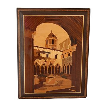 Italian Marquetry Scenic Wall Hanging Natural and Boho Chic Vintage Decors
