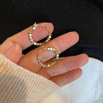 2020 Vintage Gold Color Metal Ball Hoop Earrings Korean Style Hollow Out Statement Earrings for Women Fashion Party Jewelry