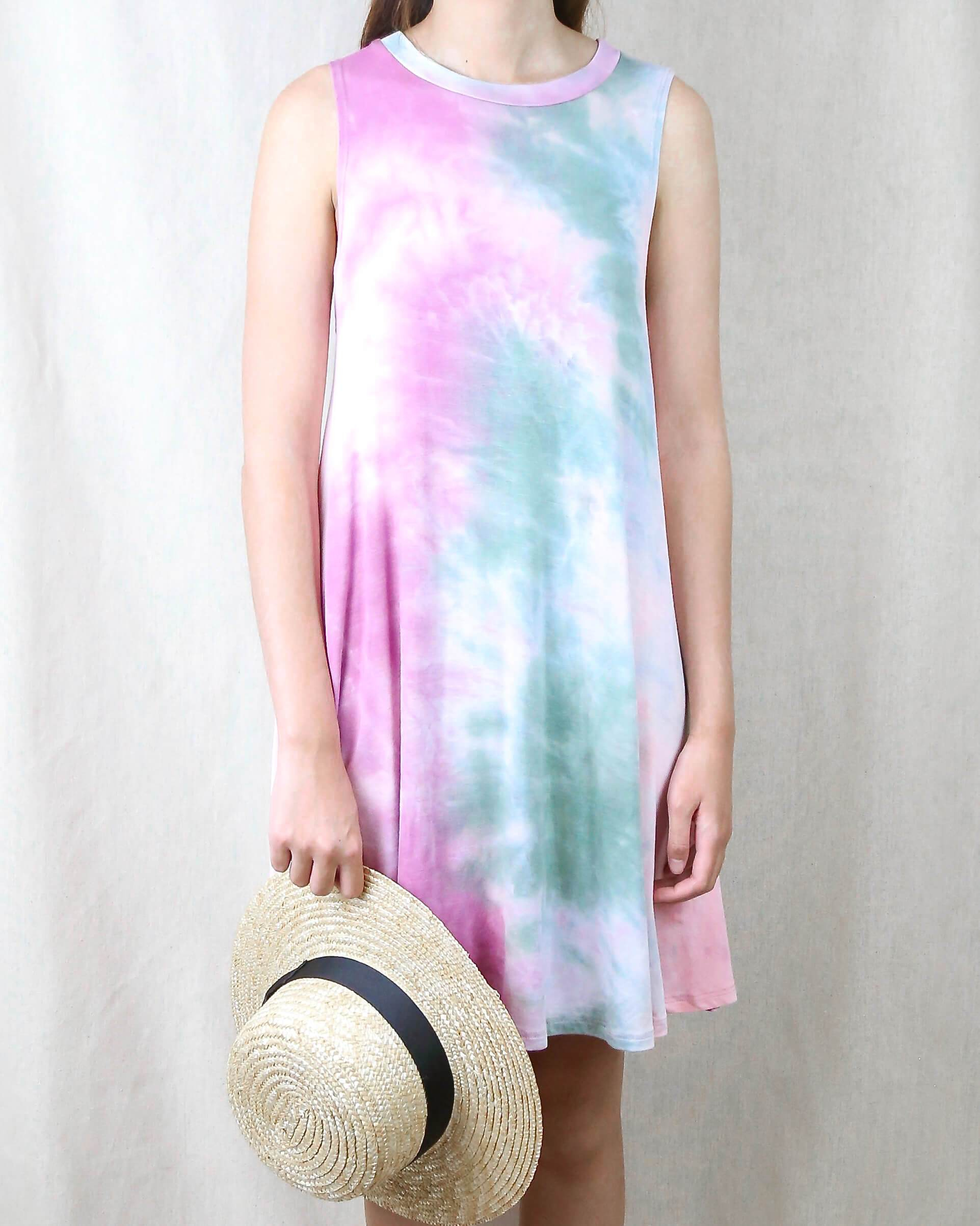 Image of To Dye For Shirt Tank Dress in Olive and Pink Tie Dye