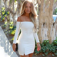 Women All-match Solid Color Off Shoulder Long Sleeve Bottoming Mini Dress