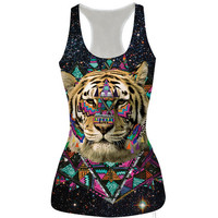 Womens Ethnic Tiger Prined Slim Tank Top Casual Sports Vest for Summer Free Shipping