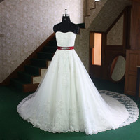A-Line/Princess Cathedral Train Satin Wedding Dresses With Lace Beadwork Free shipping