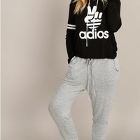ADIOS Graphic Hoodie Knit Top