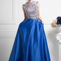 Runway Pageant Ball Gown Royal Blue Long Prom Dress Evening gown 2 piece effect