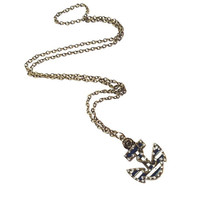 Navy and White Anchor Necklace
