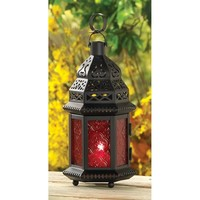 Red Glass Moroccan Style Candle Lantern Decor
