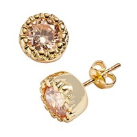 24k Gold Plated Champagne Cubic Zirconia Stud Earrings (Brown)