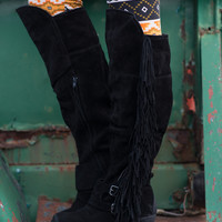 Fearlessly Free Knee High Suede Fringe Boots-Black