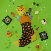 Witch's Sock - Halloween Candy and Treat Stocking - Orange Candy Corn - Black & Orange Holiday Stocking