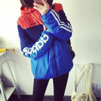 """""""Adidas"""" Women Casual Fashion Multicolor Letter Long Sleeve Zip Cardigan Hooded Cotton-padded Clothes Thickened Sweatshirt Coat"""