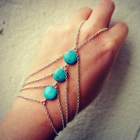 alapop — silver and turquoise slave bracelet