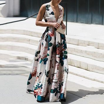 Women's Sleeveless Print V-Neck Long Skirt Waist Dress