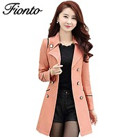 FIONTO Spring Autumn Trench Coat 2017 Hot Fashion Turn Down Collar Trench Coat Women Color Long Slim Double Breasted Coats F034