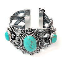 Turquoise Stones Metal Braided Cuff Bracelet w/ Rosette Accents Color: Turquoise