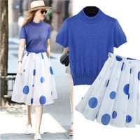 Blue Knit Short-Sleeved Shirt With Dotted Chiffon Skirt