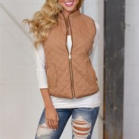 More To Explore Quilted Puffer Vest - Camel