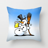 Snowman drinking a beer Throw Pillow by Cardvibes