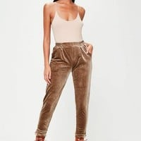 Missguided - Brown Velvet Trousers