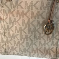 Authentic large micheal kors vanilla jet set mk gold hardware bag purse tote