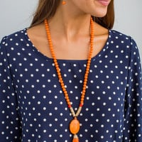 Beaded Tassel Necklace and Earring Set in Orange