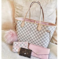 LV Louis Vuitton Fashion Tartan Leather Shoulder Bag Handbag Suit