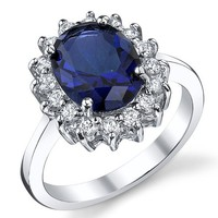 Solid Sterling Silver Kate Middleton's Engagement Ring with Simulated Sapphire Blue Color Cubic Zirconia 6