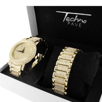Designer 14K Gold Finish Simulated Diamond Techno Pave Watch Bracelet Set