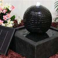 Outdoor Classics Square Solar on Demand Black Ball Fountain w/ LED Lights