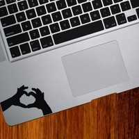 Heart Hands - Trackpad / Keyboard - Vinyl Decal (Color Variations Available) (Black)