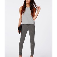 Missguided - Alicia Check Skinny Fit Trousers Black