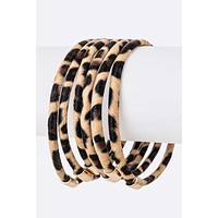 """Love Me Leopard"" Stackable Bangle Bracelet Set in Light"