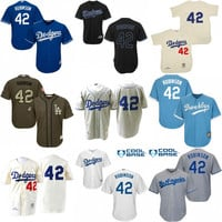 White blue grey green 1955 Throwback Jackie Robinson Authentic Jersey , Men's #42 Mitchell And Ness Los Angeles Dodgers