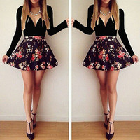 Sexy Women Long Sleeve Casual Casual Summer Cocktail Party Short Slim Dress