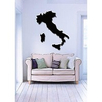 Italy Map Large Vinyl Decal Europe Travel Tourism Living Room Decor Wall Sticker Unique Gift (z1736)