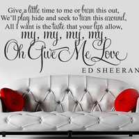 ED SHEERAN GIVE ME LOVE SONG LYRIC WALL ART STICKER DECAL QUOTE