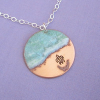 Almost There - Sea Turtle Necklace in copper