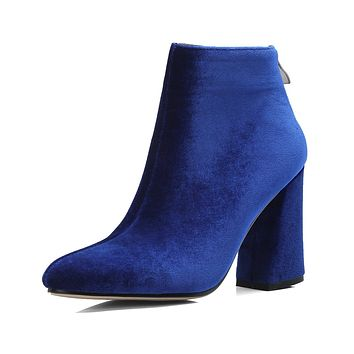Pointed Toe Frosting Ankle Boots Chunky Heel Shoes 6597