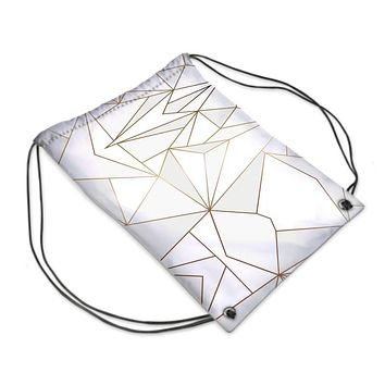 Abstract White Polygon with Gold Line Drawstring Sports Bag by The Photo Access
