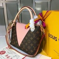 DCCK L077 Louis Vuitton LV Monogram Canvas Leather V Tote MM Handbag 36-27-16CM Pink