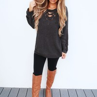 The Perfect Lace Up Sweater: Charcoal