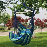 Sorbus Blue Hanging Rope Hammock Chair Swing Seat for Any Indoor or Outdoor Spaces- Max. 265 Lbs -2 Seat Cushions Included