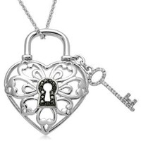 """Sterling Silver Key Lock Pendant Necklace (1/10 cttw, I-J Color, I2-I3 Clarity), 18"""""""