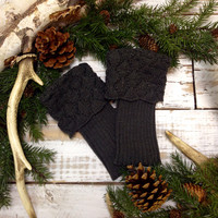 SPICE SCALLOP knit boot cuffs - peppercorn