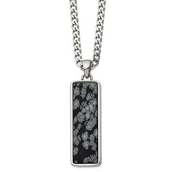 Stainless Steel Polished With Alabaster Stone Inlay 22in Necklace
