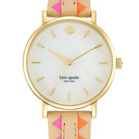 kate spade new york 'metro' geo print leather strap watch, 34mm